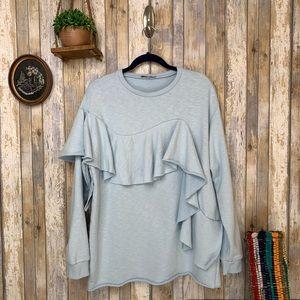 Zara Baby Blue Raw Cut Ruffled Sweatshirt